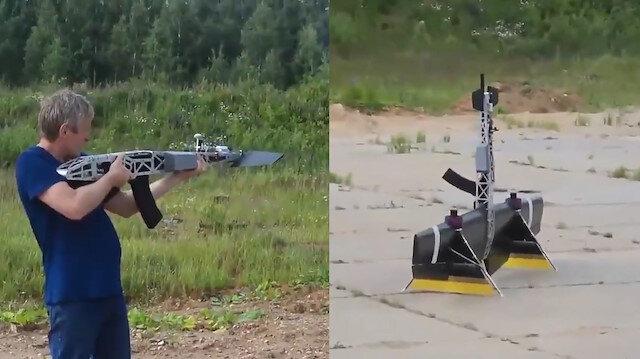 Havada atış yapabilen drone kalaşnikof tanıtıldı