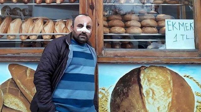 250 gram ekmeği 1 liradan satan fırın sahibi Bayram Tetik, darp edildi.