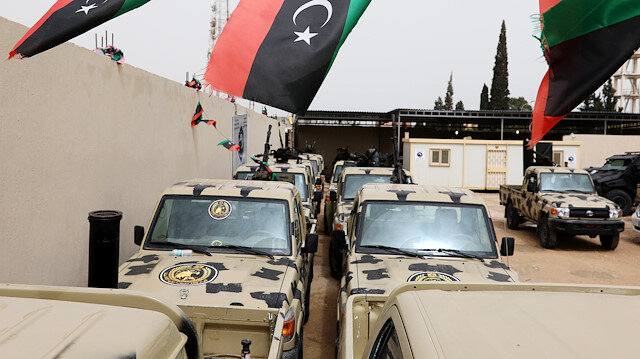 Military vehicles, which were confiscated from Libyan commander Khalifa Haftar's troops, are seen in Zawiyah, west of Tripoli, Libya April 5, 2019. REUTERS/Hani Amara