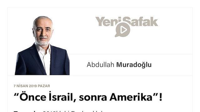 """Önce İsrail, sonra Amerika""!"