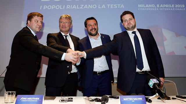 Matteo Salvini, Italy's Deputy Prime Minister and leader of the far-right League Party, poses with Olli Kotro from the Finnish ECR party, Joerg Meuthen from the the German EFDD party and Anders Vistisen from the Danish ECR party, as he launches the start of his campaign for the European elections, in Milan, Italy April 8, 2019.