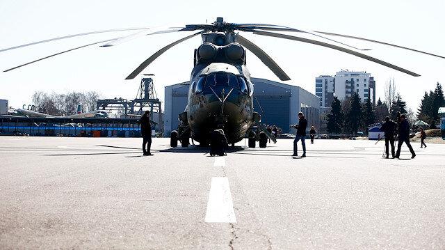Rus Mi-26T2V helikopterinin tanıtımı, test uçuşlarının ardından Rusya'nın başkenti Moskova'da Rus devlet savunma sanayi şirketi Rosteh'e bağlı Rusya Helikopterleri tesislerinde basın mensuplarına yapıldı.