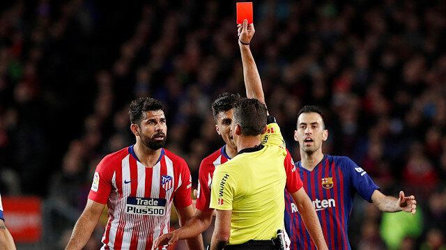 Costa, maçın 28. dakikasında direkt kırmızı kart görmüştü.