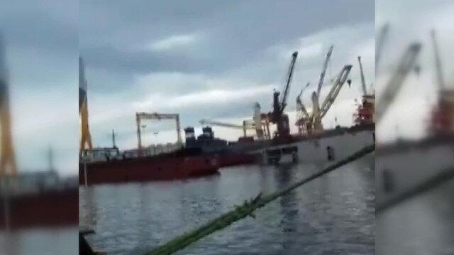 Tuzla'da vincin denize devrildiği anlar kamerada