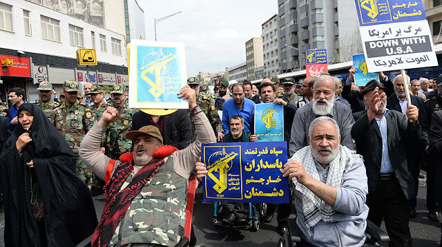 Protest in Tehran against US designation of IRGC as