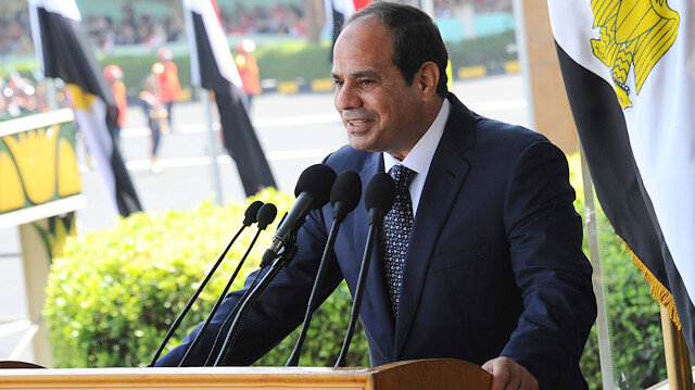 Egypt President Abdel Fattah al-Sisi delivers a speech during a graduation ceremony at the Egyptian Military Academy in Cairo, June 24, 2014. Sisi pledged on Tuesday to give up half his salary and property and called on the Egyptian people to make similar sacrifices in a bid to prepare the public for a period of painful economic austerity. Egypt's economy is forecast to grow just 3.2 percent in the fiscal year that begins on July 1, well below the level needed to create enough jobs for its rapidly growing population of 86 million and alleviate widespread poverty .REUTERS/