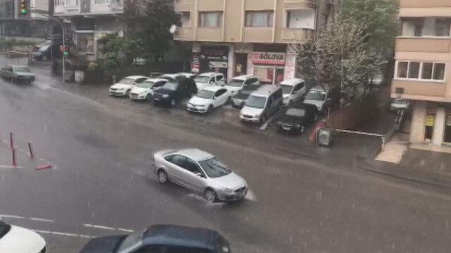 İstanbul'da etkili olan dolu yağışı