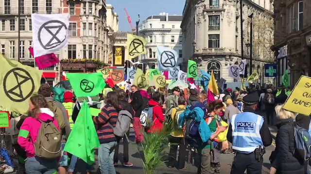 Demonstration of Environmentalist campaign group in London