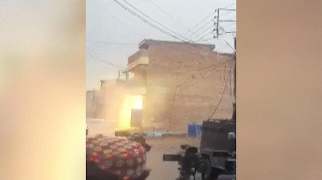 Teröristlerin sığındığı bina böyle havaya uçuruldu