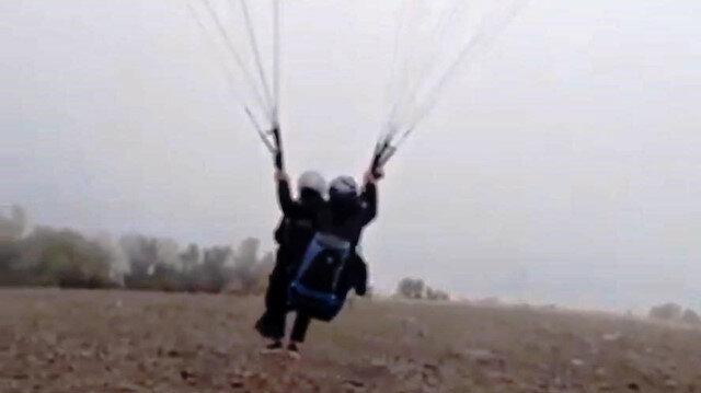 Hayatını kaybeden paraşüt eğitmeni ve turistin son görüntüsü.