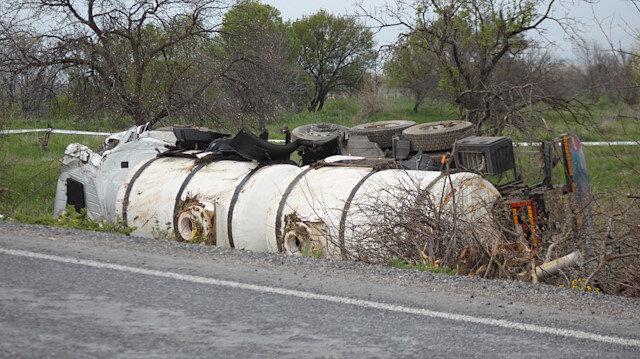 Afyonkarahisar'da tanker devrildi