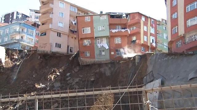 Kağıthane'deki binanın yıkılma anı