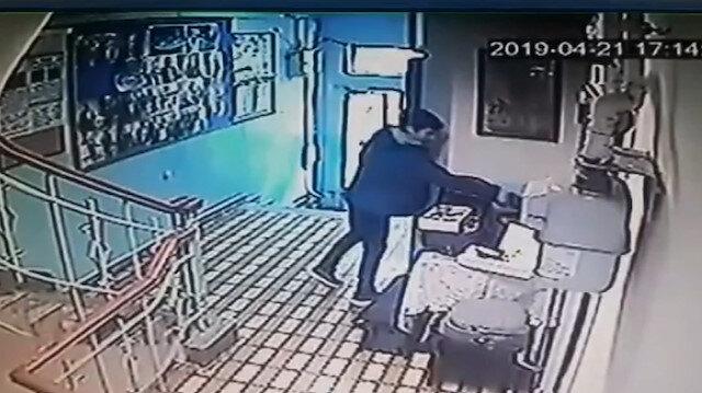 Fatih'te hırsızlık güvenlik kamerasında