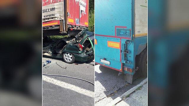 TIR'ın altına giren araç (sol) ve normalde olması gereken koruma. (sağ)