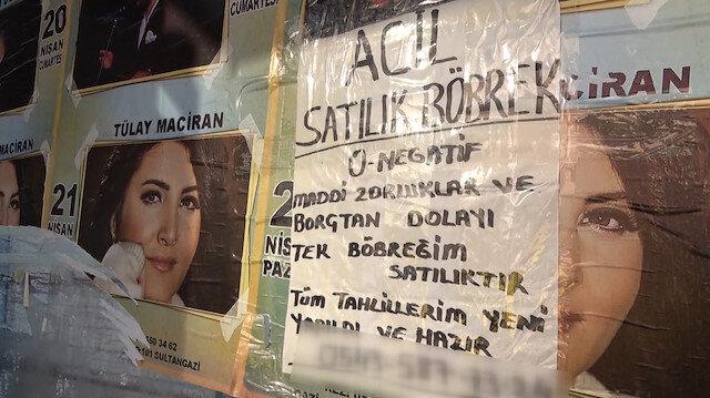 Otobüs duraklarına satılık böbrek ilanı astı