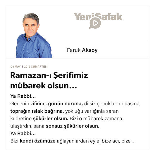 Ramazan-ı Şerifimiz mübarek olsun…