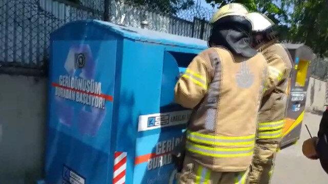 Geri dönüşüm kutusuna düşen çocuğu itfaiye ekipleri kurtardı