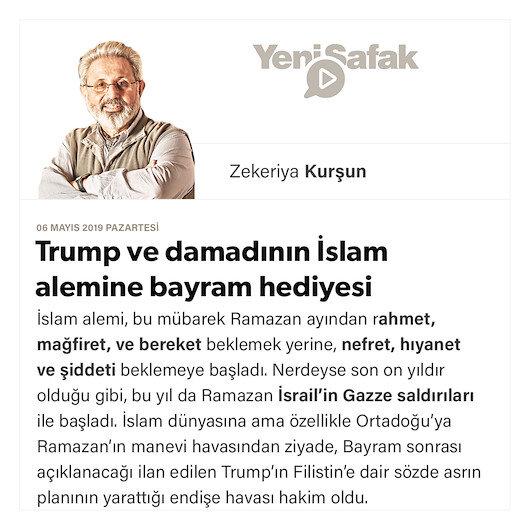 Trump ve damadının İslam alemine bayram hediyesi