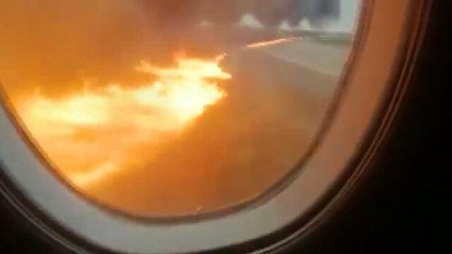 Rusyada yanan uçaktaki yolcu facia anlarını kaydetti