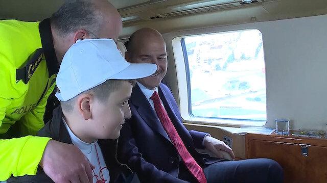Bakan Soylu, çocuklarla birlikte helikopterle trafik denetimine katıldı