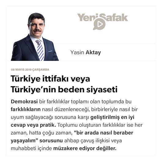 Türkiye ittifakı veya Türkiye'nin beden siyaseti