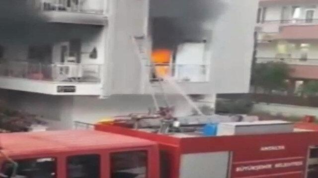 Yangından sonra meydana gelen patlama kamerada