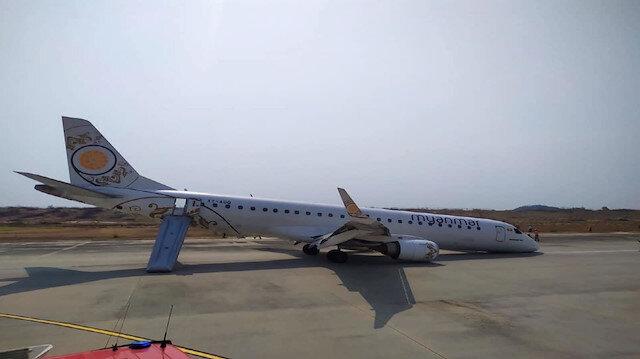 Pilot ön takımları açılmayan yolcu uçağını burnu üstüne indirdi