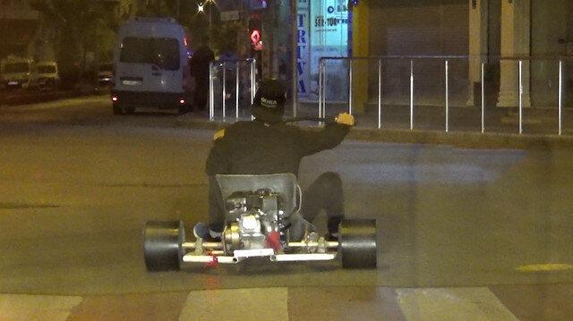 Go-kart aracıyla trafiğe çıkıp drift yaptı