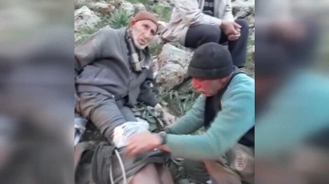 Mantar toplarken kayalıktan düşen yaşlı adam kurtarıldı