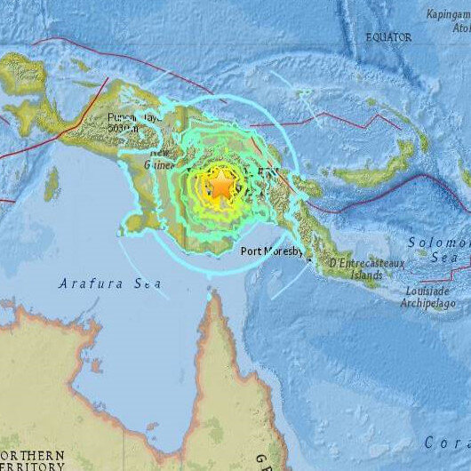 Papua Yeni Gine'de 7,5 büyüklüğünde deprem