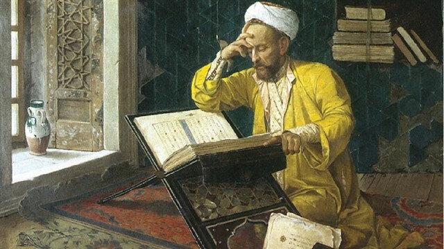 """Osman Hamdi Bey'in """"İlahiyatçı"""" adını verdiği bu tablo 1907 yılına tarihlenmiştir."""