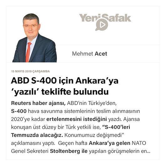 ABD S-400 için Ankara'ya 'yazılı' teklifte bulundu