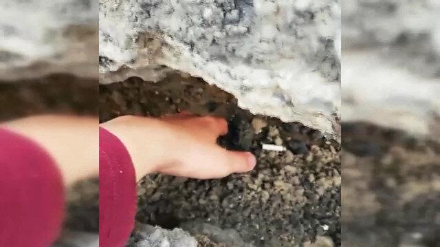 İstinat duvarı çökmeden önce video çekti: Böyle giderse burası çöker
