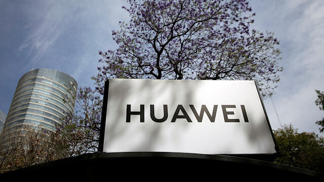 The Huawei logo is seen at a bus stop in Mexico City, Mexico