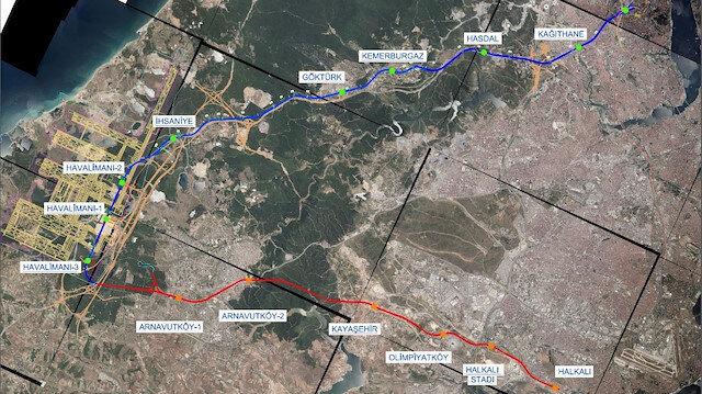 İstanbul Havalimanı'na gidecek iki metro hattı.