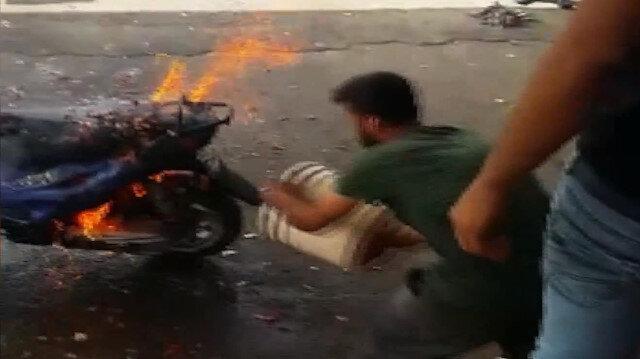 Aniden alev alan motosiklet paniğe neden oldu