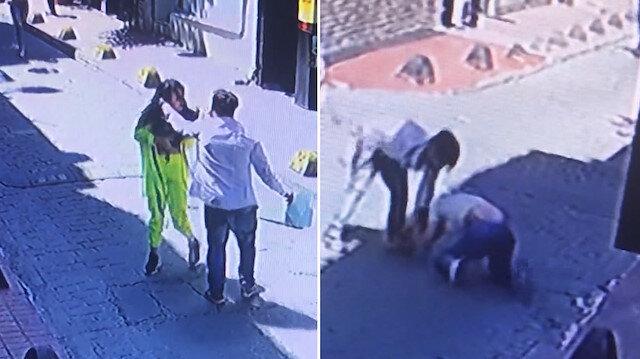 Beyoğlunda iki kadının darp edildiği anlar kamerada