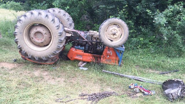 Erbaa'da bir traktör devrildi.