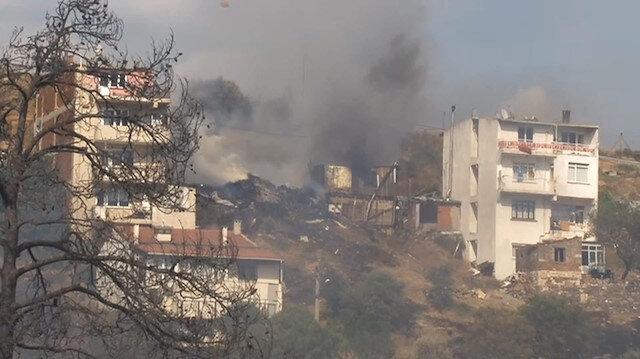 İzmirde zeytinlik alanda korkutan yangın
