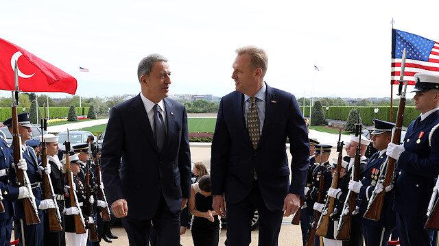 Milli Savunma Bakanı Hulusi Akar ile ABD Savunma Bakan Vekili Shanahan'ın daha önce ABD'de yaptığı görüşmeden.