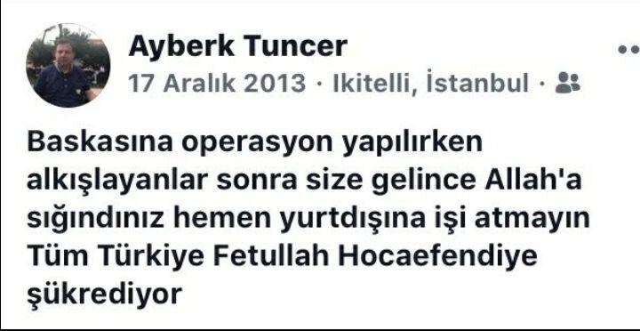 Mehmet Ayberk Tuncer'in 17-25 Aralık'taki FETÖ kumpasının ilk gününde yaptığı sosyal medya paylaşımı.