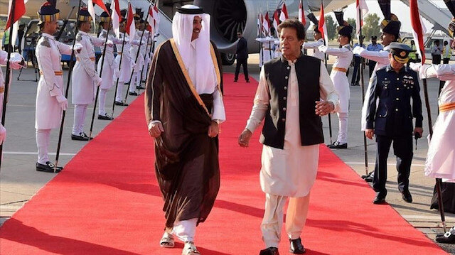 Katar Emiri Şeyh Temim bin Hamed Al Sani ile Pakistan Başbakanı Khan