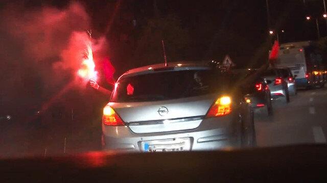 Başkent'te trafik magandaları meşale yaktı