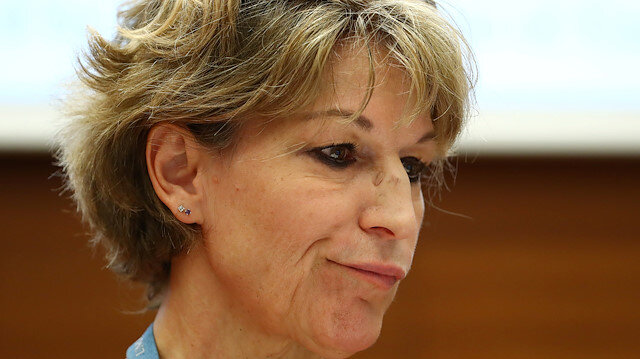 """Agnes Callamard, U.N. special rapporteur on extrajudicial executions who issued report on the murder of Saudi journalist Jamal Khashoggi, takes part in a side event called """"Silencing Dissident"""" during the Human Rights Council at the United Nations in Geneva, Switzerland, June 25, 2019. REUTERS/Denis Balibouse"""