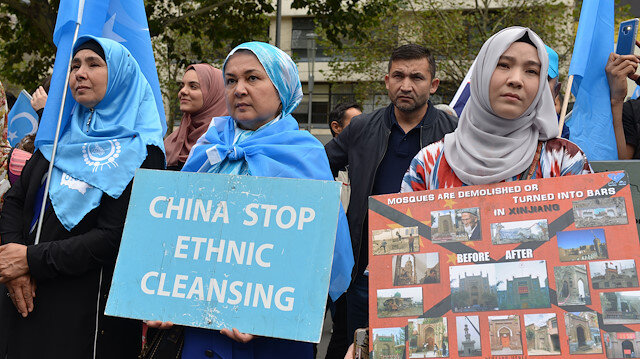 File photo: Protests against China's human rights violations in Xinjiang Uyghur Autonomous Region in Melbourne