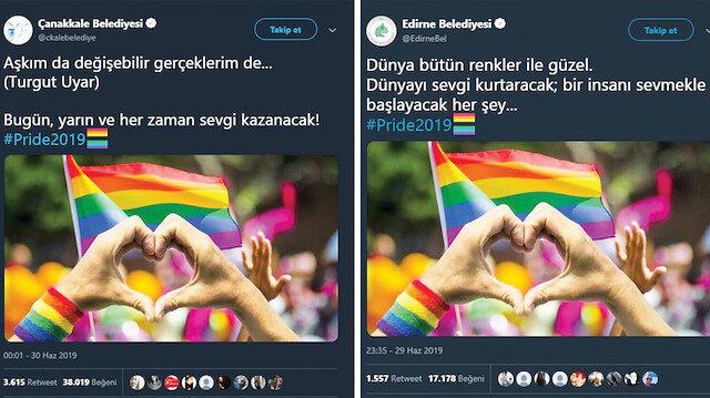 Çanakkale Belediyesi ve Edirne Belediyesinin Twitter hesabından yapılan skandal paylaşımlar.