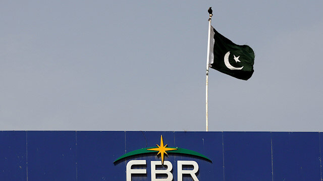 The national flag is seen on the Federal Board of Revenue (FBR)