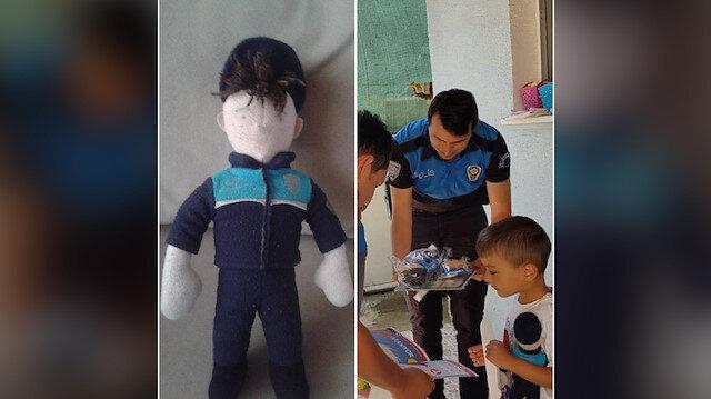 Yüzü silinen oyuncak (solda) ve polislerin küçük Yusuf'u ziyaretinden bir kare.
