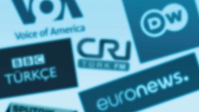 BBC Türkçe, Deutsche Welle Türkçe, Amerika'nın Sesi, Euronews Türkiye ve CRI Türk'ün logoları.