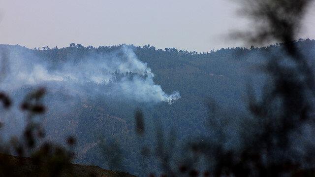 Hatay'ın Yayladağı sınırına yakın alanda dün başlayan orman yangını devam ediyor.